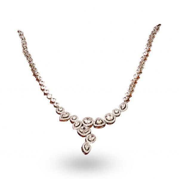American Diamond Necklace with rose gold plating