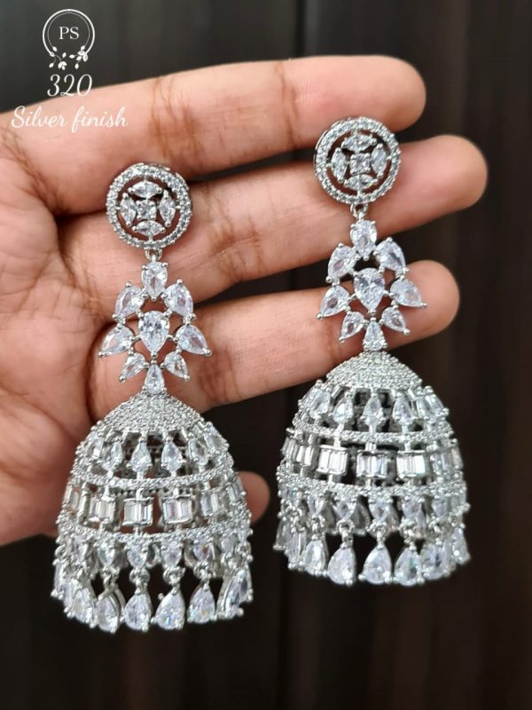 Silver Plated AD Jhumkas