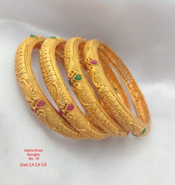 Matte Finish Gold Bangles