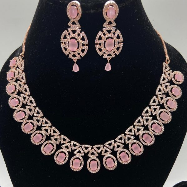 RoseGold Pink AD Necklace