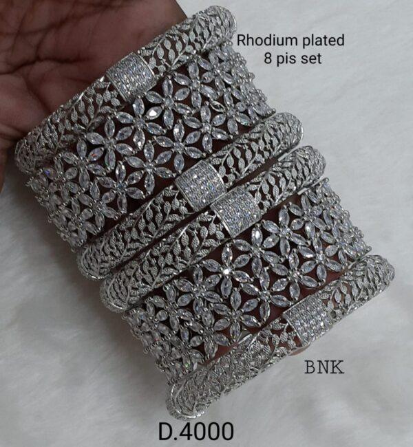 AD Stone Rhodium Bangles