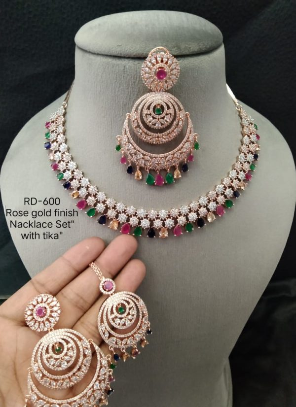 Multicolour RoseGold Necklace Set