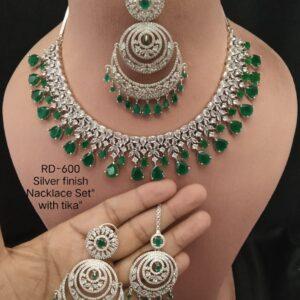 Green RoseGold Necklace Set