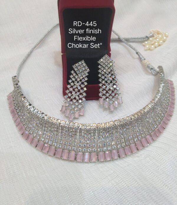 Silver Pink Choker Set