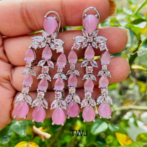 Pink Layered AD Earrings